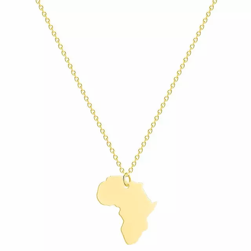 Africa Map Necklace | Gold