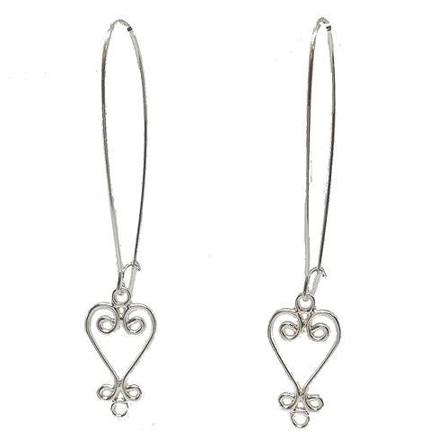 Silver Sankofa Drop Earrings