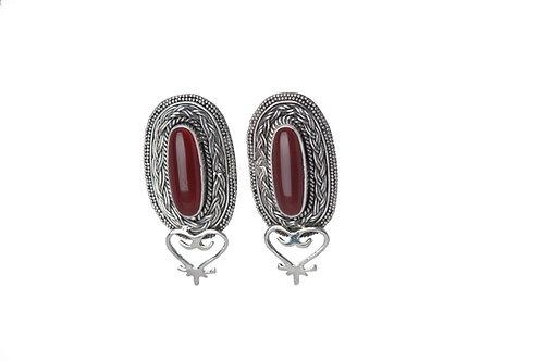 Oval Stone Sankofa Post Earrings