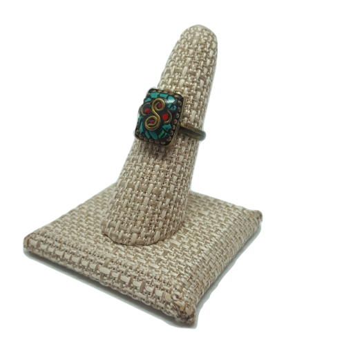 Turquoise | Coral Mosaic Ring