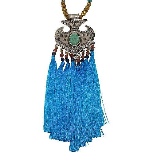 Moroccan Fringe Necklace | Blue