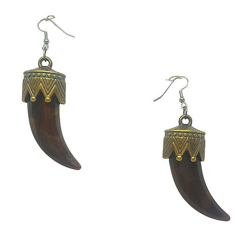 Resin Tusk Earrings | Brown