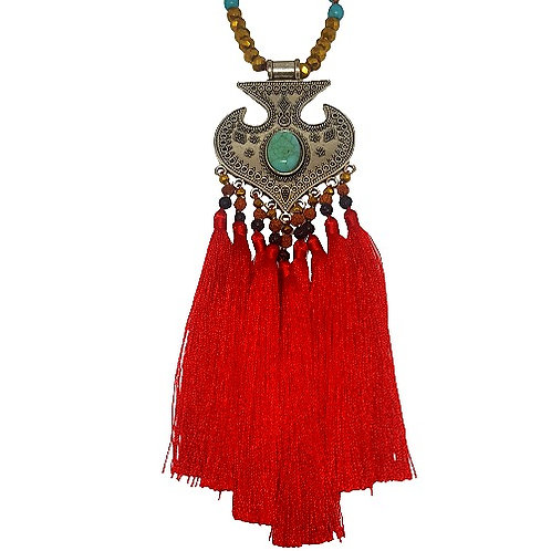 Moroccan Fringe Necklace | Red