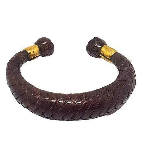 Leather Braided Bangle | Brown