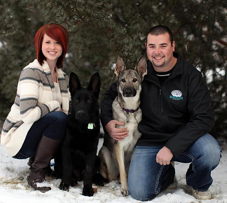 Family pictures including their puppies