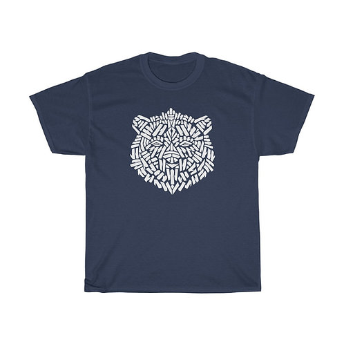 Brown Bear Stencil (front) / Mind's Eye (back) - Unisex Heavy Cotton T-Shirt