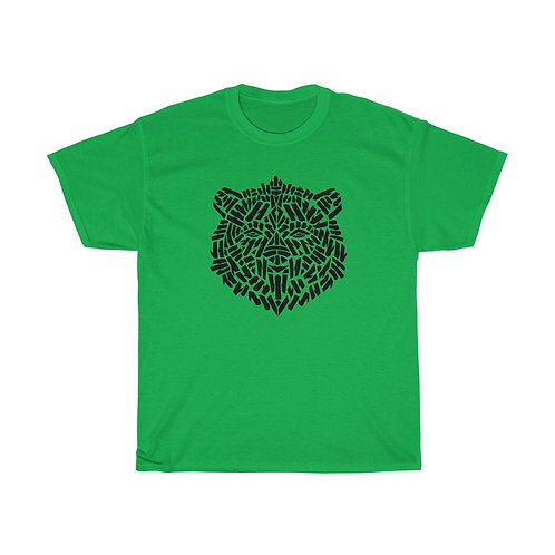 Brown Bear Stencil (front) / Mind's Eye (back) - Unisex Heavy Cotton T-Shirt