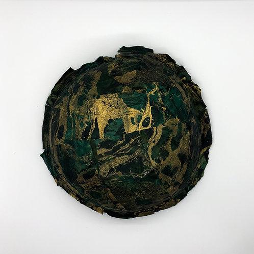 Fabric mache bowl green