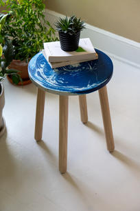 Blue and white end table