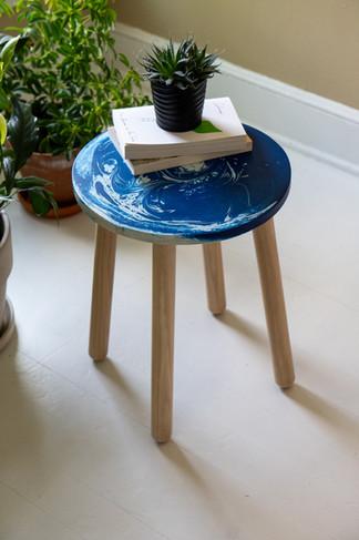 Blue swirl table