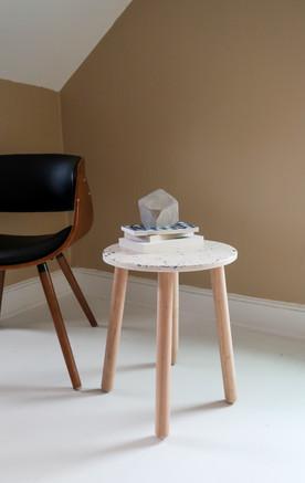 White terrazzo end table