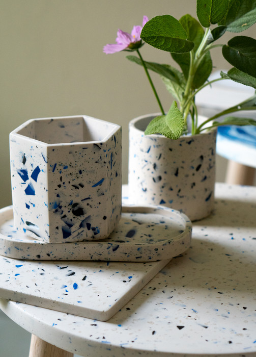 Blue and white terrazzo collection