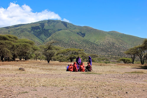 Maasai In Front Of Mountain