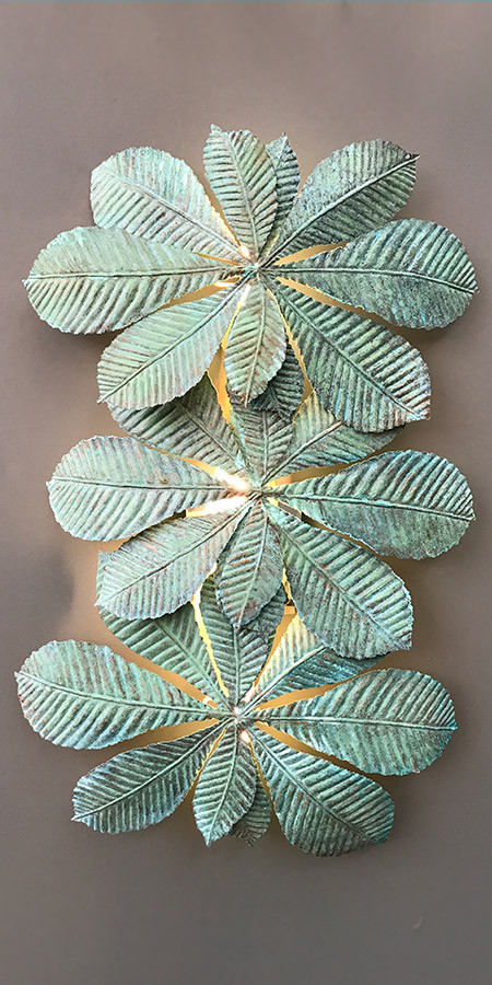 Verdigris Leaf Wall Light