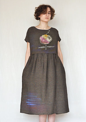 Brown viscose dress
