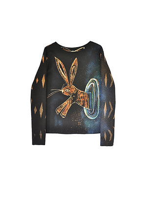 Sweatshirt with Rabbit Print, Size M/L