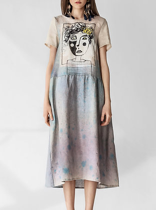 Over-sized loose linen dress