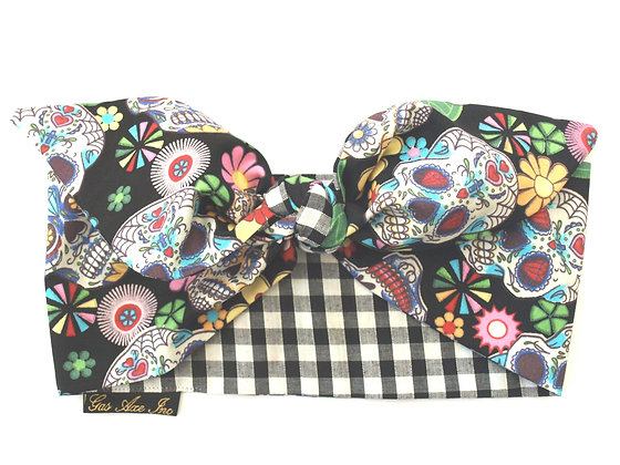 Rockabilly Black Sugar Skull Gingham Head Scarf T