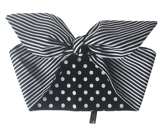 1950s Rockabilly Black and White Polka Stripe Head Scarf