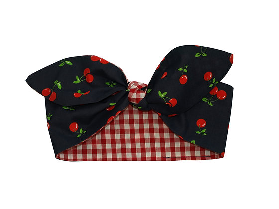50's Navy Cherry Red Gingham Head Scarf Tie