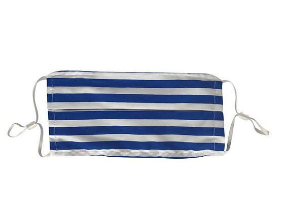 Royal blue polka dot and stripe face mask covering 100% cotton