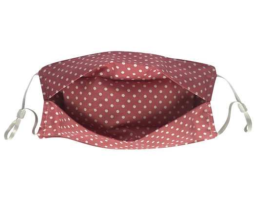 Pink polka dot face mask covering 100% cotton