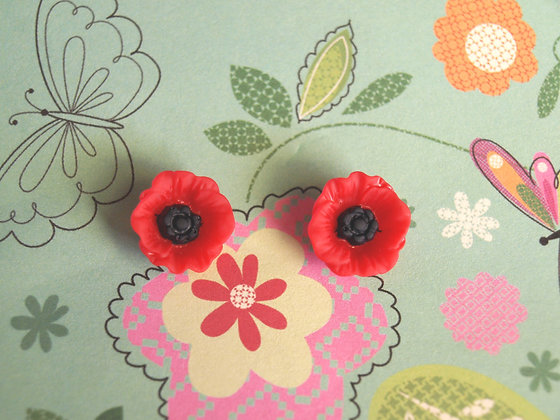Poppy Stud Earrings Rockabilly 50s