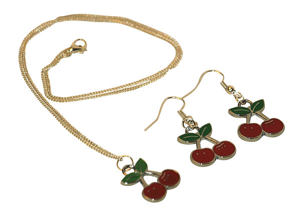 Cherry Earrings & Necklace Set