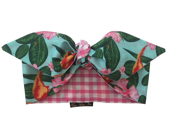 1950s Rockabilly Flamingo Pink Gingham Head Scarf Tie