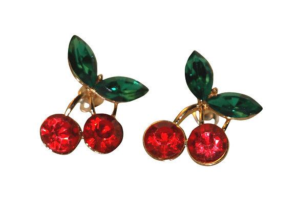 50's Rockabilly Cherry Crystal Stud Earrings