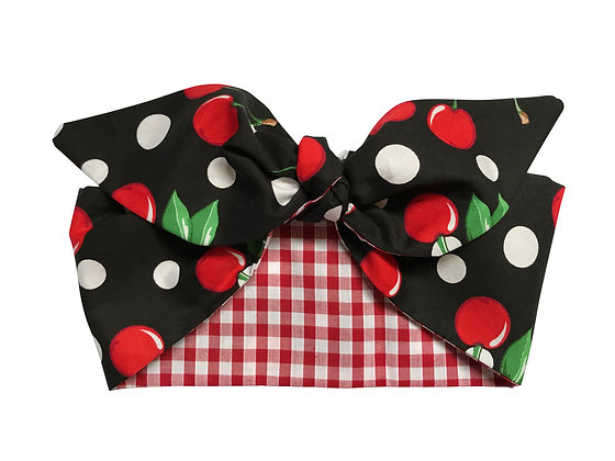Black Cherry Polka Dot 50s Head Scarf Tie