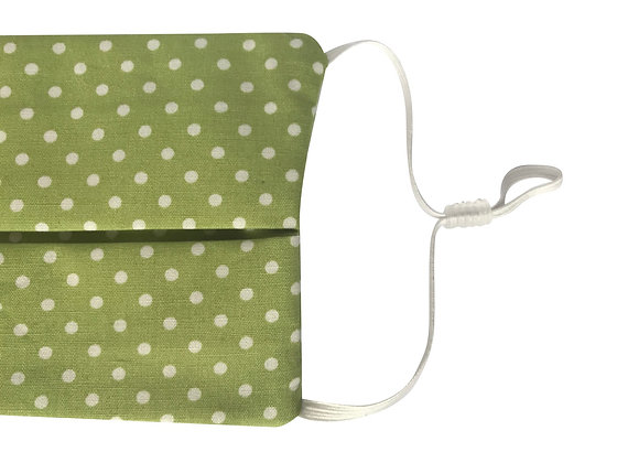 Green polka dot face mask covering 100% cotton