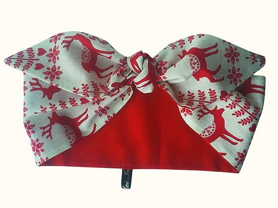Christmas Red Reindeer 50s Head Scarf Tie
