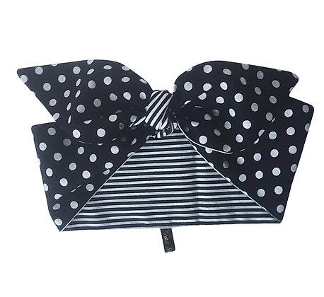 1950s Navy Blue and White Polka Dot Stripe Head Scarf Tie