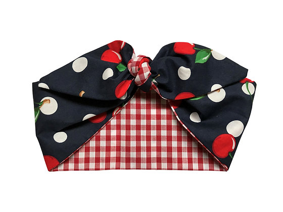 Navy Cherry Polka Dot 50s Rockabilly Head Scarf Tie