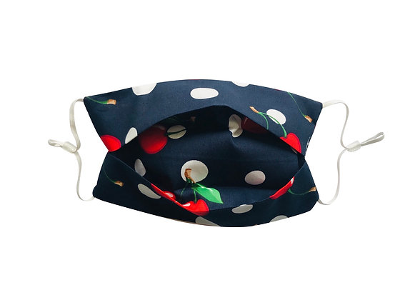 Navy cherry polka dot and stripe face mask covering 100% cotton