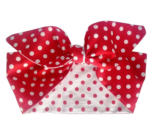 50s Pinup Red and White Polka Dot Head Scarf Tie