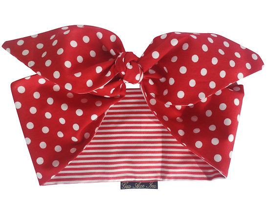 50s Pinup Rockabilly Red and White Polka Dot Stripe Head Scarf Tie