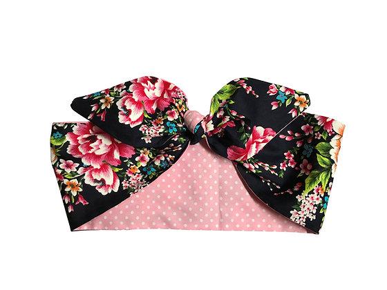 Navy Flower Pink Polka Dot 50s Rockabilly Head Scarf Tie