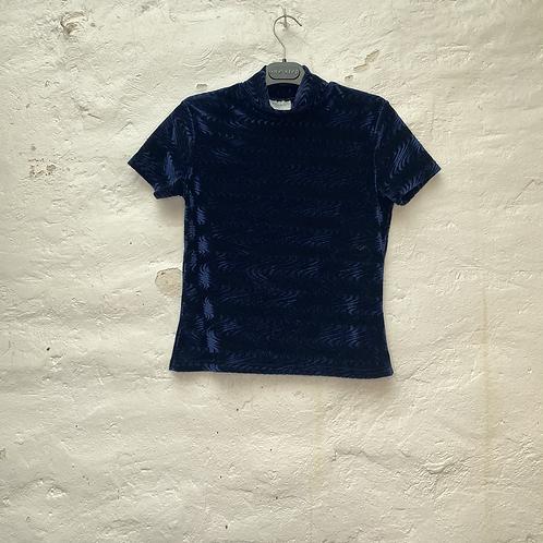 Top à col montant en velours bleu nuit et motif vague, années 2000, TS, Pimkie