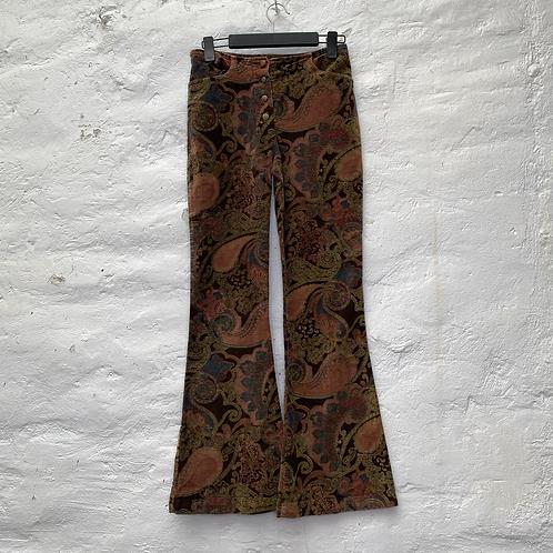 Pantalon flare velours à motifs fleuris, années 70, TS, Bluelita