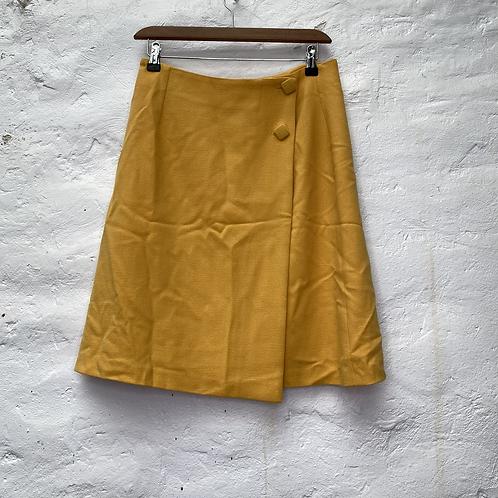 Jupe style portefeuille mi longue, jaune moutarde, années 90, TM, Un Deux Trois