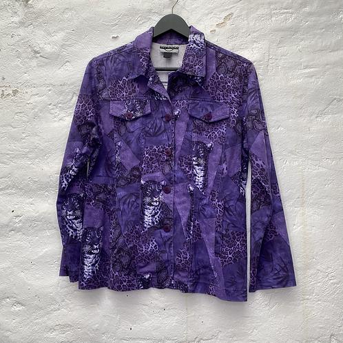 Veste en coton violet à motif léopard, années 2000, TM, Mitsouki