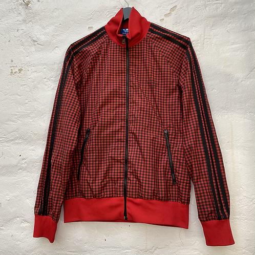 Veste vintage carreaux vichy rouge, années 90, TM, Adidas