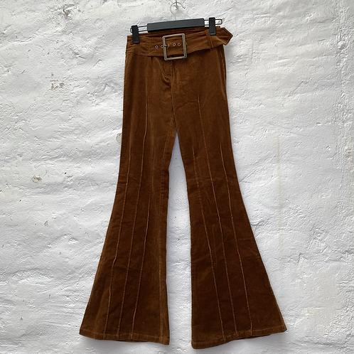 Pantalon flare velours marron avec ceinture, années 70, TS