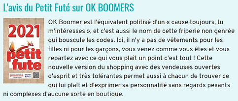 Avis du Petit Futé sur OK BOOMERS