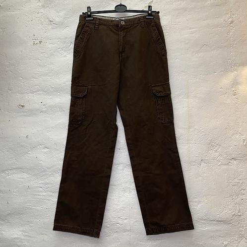 Pantalon droit marron en coton avec poches, années 2000, TM, Columbia