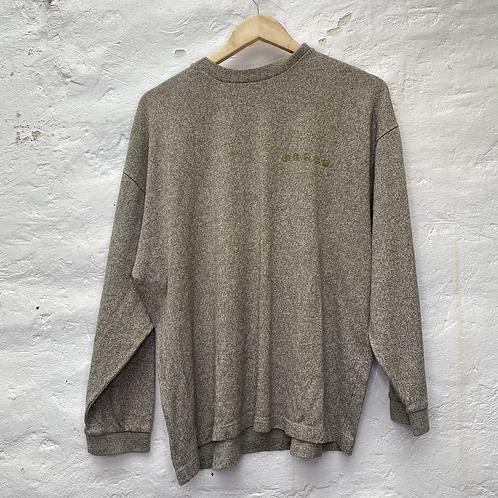 Pull beige chiné avec imprimé dans le dos, années 90, TL, Oxbow