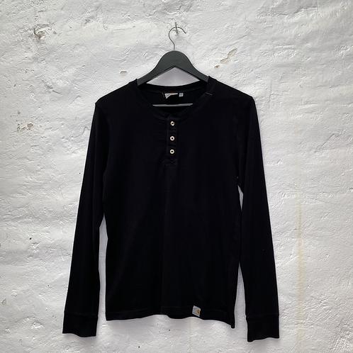 T-shirt à manches longues noir avec col boutonné, TXS-S, Carhartt