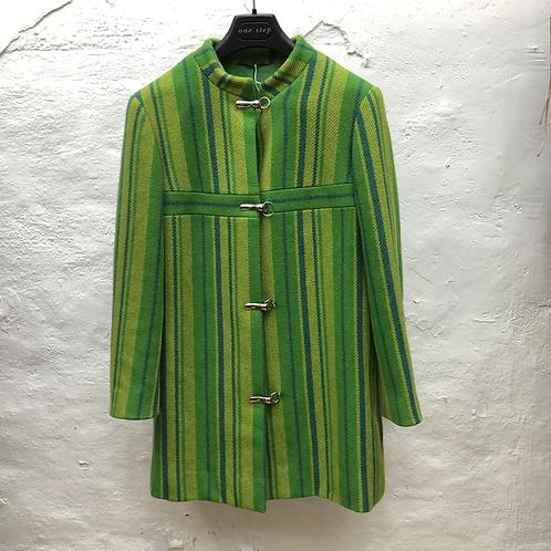 Manteau vert rayé 70s